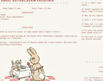 """ON SALE Penny Rose Fabrics """"Bunnies and Cream"""" Pink Recipes"""