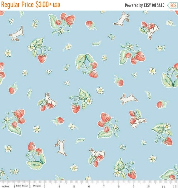 "ON SALE Penny Rose Fabrics ""Bunnies and Cream"" Blue Strawberry"
