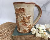 Ceramic Bee in the Garden Coffee Mug - Floral Bee Pottery Cup - Handmade Stoneware Bee Tea Cup Glazed in Oatmeal Beige