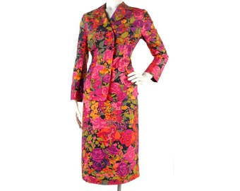 Vintage 70s Suit - Ken Scott - 70s Ken Scott - Floral Suit - Bright Floral Suit - Abstract Floral Suit - Pink Purple Green - 70s Power Suit