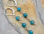 Blue Apatite Earrings, Teal Blue Gemstone Earrings, Sterling Silver Lever Back Ear Wire, Teal Blue Dangle Earrings for Women #4762
