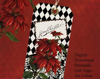 DIY Christmas Gift Tag Set - An Urban Victorian Christmas Instant Download Printable Files
