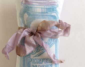 Lavender Sachet, 100% Silk With Mason Jar Graphic