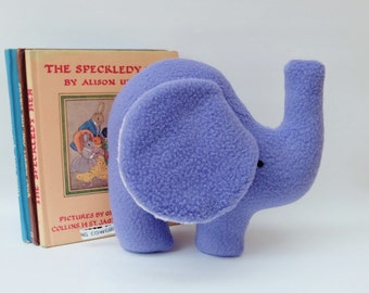 Periwinkle Purple Elephant Plush, Handmade Small Soft Fleece Toy, Simple and Sweet Little Plush Toy Elephant