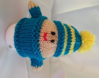 Hand Knitted Blue and Yellow Egg Cozy or Hand Puppet