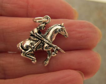 Sterling silver AMERICAN WARRIOR charm. 3 D charm. 15 x 20mm. Solid Sterling silver charm pendant. Horse and Rider pendant