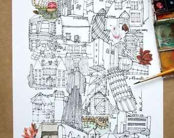 Limited Edition Screen Print A is Architecture, (hand finished with water colour and  up-cycled paper.)