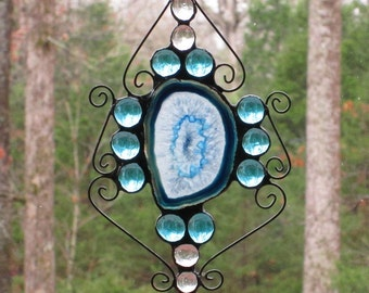 Suncatcher with Large Aqua Blue Agate, Aqua Blue and Clear Nuggets, and Wire Curly Cues