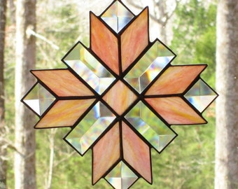Stained Glass Suncatcher - Cross, Quilt Pattern in Streaky Yellow, Coral, Pink Glass with Clear Bevels