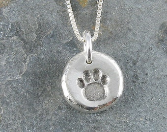 Paw Print Pendant Organic Rustic Recycled Sterling Silver Paw Print Jewelry