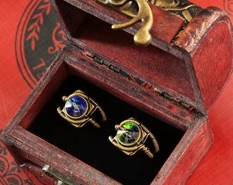 SALE 25% OFF - 7th anniversary special sale - 2 swarovski crystal steampunk rings - wooden box included - Bermuda Blue and Vitrail