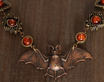 GOTHIC neo victorian necklace, Antique copper bat with amber colored beads