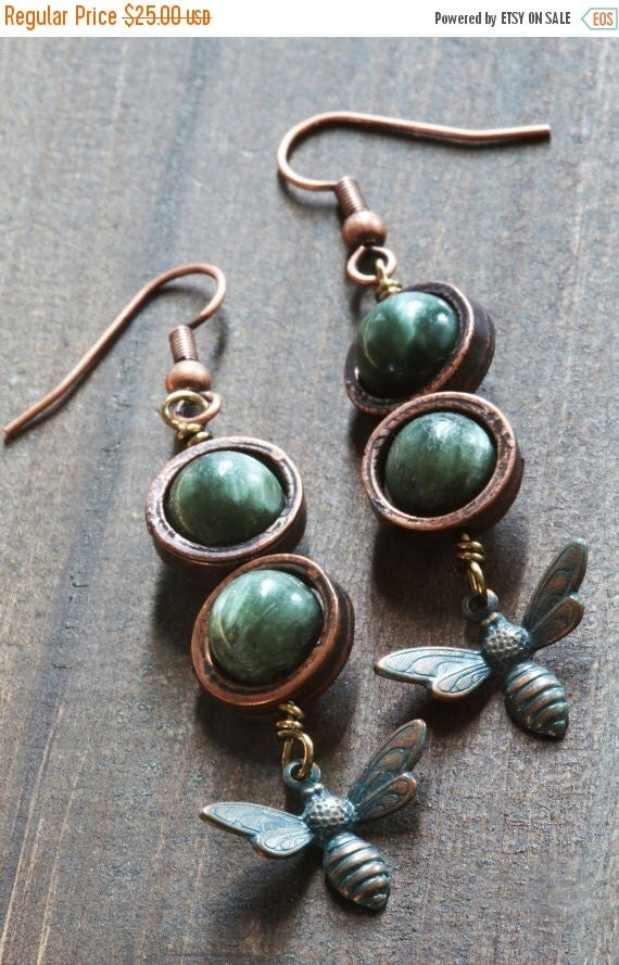 SALE 25% OFF - Steampunk Earrings - Seraphinite and verdigris antiqued bee charm