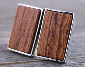 Cuff links - Honduras Rosewood in Rectangle Silver Bezel cufflinks
