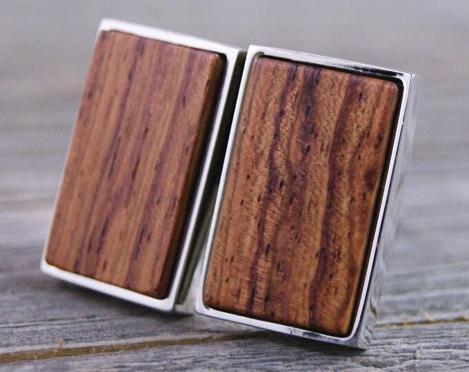 Cuff links - Honduras Rosewood in Rectangle Silver Bezel cufflinks