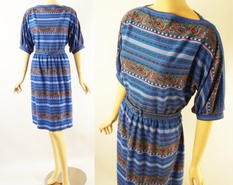 Vintage 1960s Dress Paisley Blue with Dolman Sleeves B42 W32