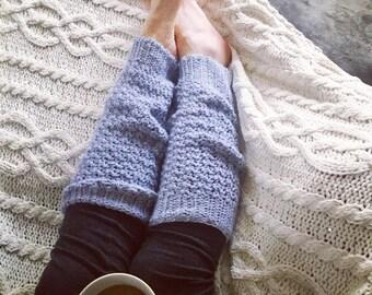 Cozy warm textured crochet knit leg warmers gray grey