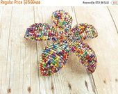 INVENTORY CLEARANCE Confetti - Beaded Flower Hair Clip or Brooch - Ododo Originals Ready to Ship