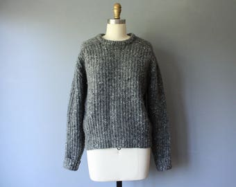 vintage woolrich sweater / grey chunky knit sweater / womens large