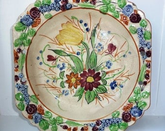 Gorgeous Floral Plate - Handpainted Flowers - Yellow Red Green Blue - Embossed Fruit Berry Design Edge - Interior Decor - Hand Painted 1930s