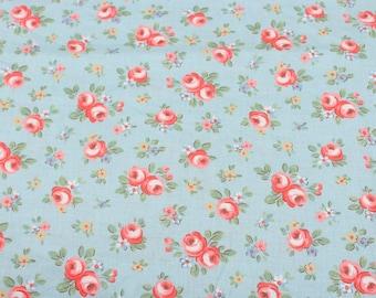 4687 - Cath Kidston Kensington Rose (Light Blue) Cotton Fabric - 53 Inch (Width) x 1/2 Yard (Length)