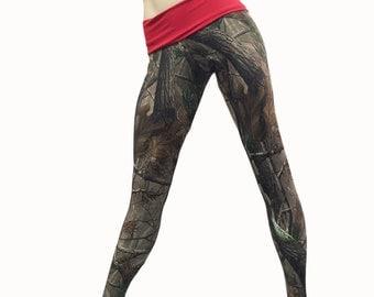 Camo Pants - Workout Clothes - Hot Yoga - Camo - Camouflage - High Waist Pant - Fold Over - Legging - SXY Fitness - Handmade - USA -