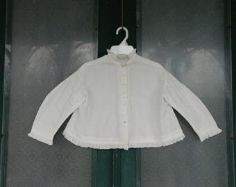 Edwardian White Cotton Childs Blouse with Ruffle Trim