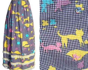 Vintage 70s Maxi Skirt Novelty Print Dog & Cat Seersucker Gingham Appliques S / M
