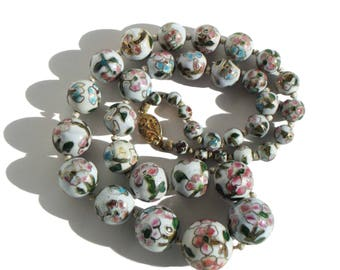 Vintage Chinese Export Necklace Art Deco Beaded Cloisonne Pink White Gold Gilt