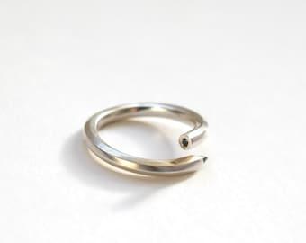 Silver Pencil Ring, Sterling Silver, Black Diamond, Handmade Pencil Ring, RockCakes, Brighton, uk