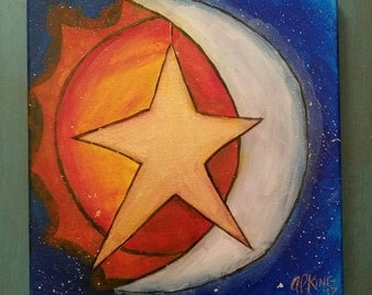 Sun Moon Star Art original painting