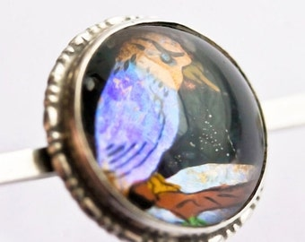 NOW  ON SALE Art Deco Real Butterfly Wing Kingfisher  Bar Pin, Possibly T L Mott- Bird Pin, Butterfly Wing Jewelry