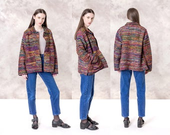 SILK WOVEN JACKET coat women Colorful rainbow vintage Oversize Spring Fall blazer / Medium Large / pockets better Stay together