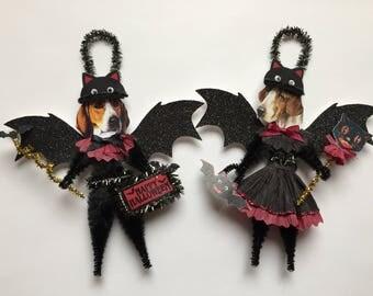Foxhound BAT Halloween ornaments DOG ornaments vintage style chenille ORNAMENTS set of 2