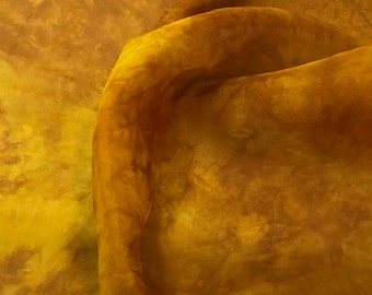 Hand Dyed HONEY MUSTARD YELLOW Silk Organza Fabric - 1/2 Yard