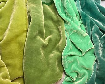 "Pastel Green Sample Set - Hand Dyed Silk Velvet Fabric - 9""x22"" Each"
