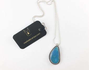 Nacozari Turquoise Sterling Silver Artisan Pendant Necklace One of a Kind READY TO SHIP by Maribelle Campa