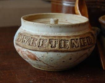 Vintage Sweetener Bowl and Wooden Spoon Set