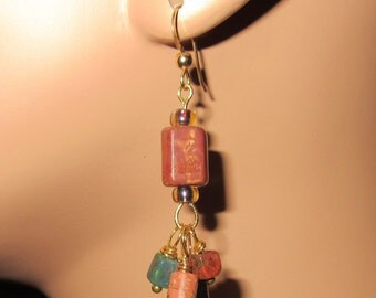 Colorful Gold Fill Stone Beaded Dangling Earrings, Long earrings, Boho, One Of A Kind