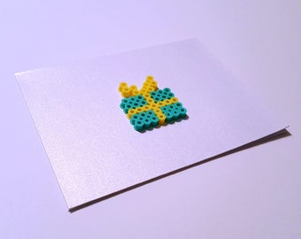 Best Things Come in TIny Packages - Perler Fuse Bead Greeting Card - Love Note - Birthday Present - Bow - Gift - Package
