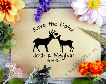 Wedding Save the Date Rubber Stamp // Custom Woodland Rustic Buck and Doe // Handmade by Blossom Stamps
