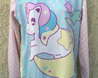 Sweetie Dream the unicorn Sweater, Starry Rainbow Sweater, Fairy Kei Sweater, Pastel Sweater, Fairykei Sweater