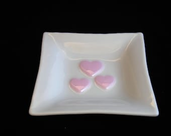 Fused Glass Heart Plate, Glass Jewelry Plate, Valentines Day Gift, Pink Hearts, Valentine's Plate