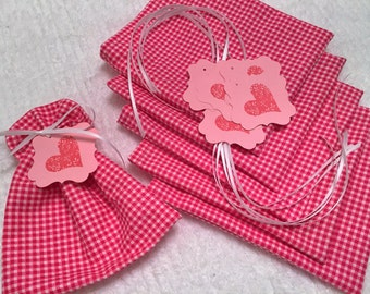Valentine's Day, Mini Gift Bags, Favor Bags, Fabric Bag, Gift Wrap, Product Supply Bag, Soap Bag, Candy Bag, Classroom Treat, Teacher Treats