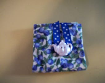 Blueberry Tea Bag Wallet with Pearl Teapot Button andRibbon