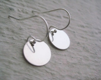 Sterling Silver Dot Earrings- Round Discs, Drops, Earwires, Simple, Gift, Everyday