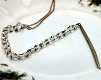 Gold Spike Necklace with Clear Crystal