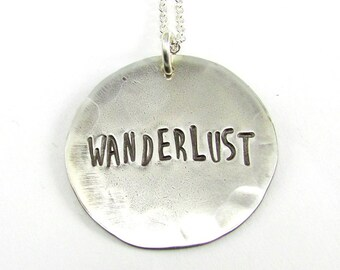 Wanderlust Necklace | Traveler Gift | Hand Stamped Word Necklace | Hand Cut Rustic Vintage Style Oxidized Silver Finish | Graduate Gift