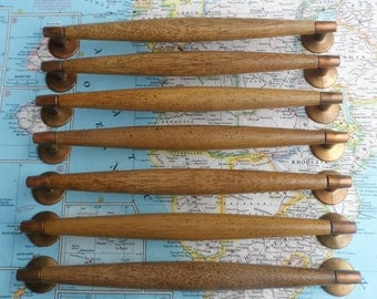 SALE! 7 wide mod wood handles with brass end pieces
