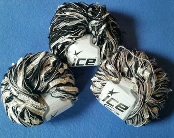 Three Skeins Multi-strand Novelty Yarn by Ice Yarns, premium multistrand yarn - black, white, gold - metallic, butterfly, ladder